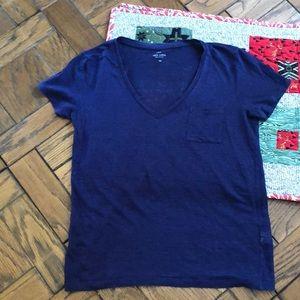 J.Crew Navy Linen V-neck T-shirt